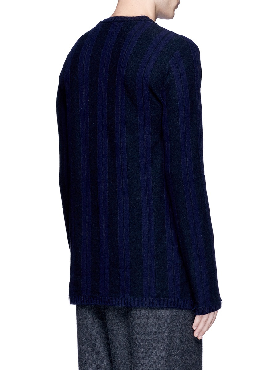 Ziggy Chen Stripe Baby Cashmere Sweater in Blue for Men