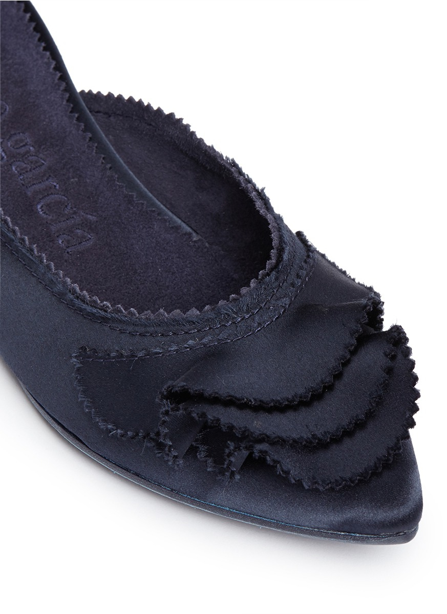 sports shoes 74c4d 3f82d Lyst - Pedro Garcia 'alia' Ruffled Satin Slippers in Blue