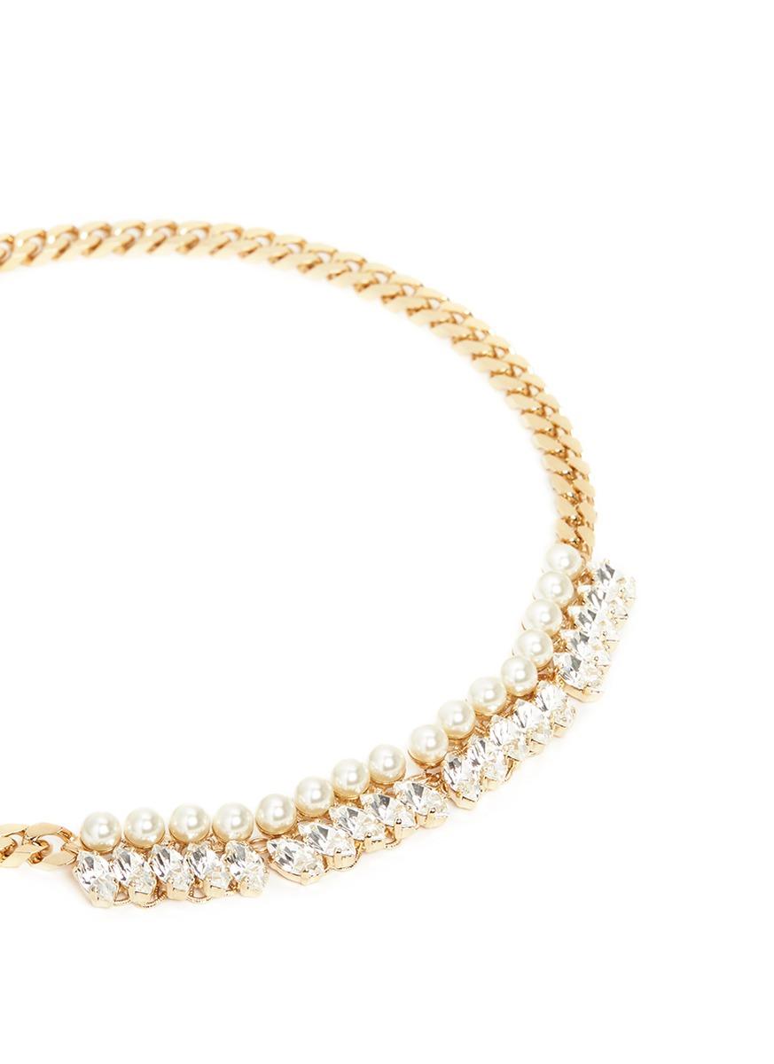 Anton Heunis Glass Pearl Swarovski Crystal Curb Chain Necklace in Metallic (Blue)
