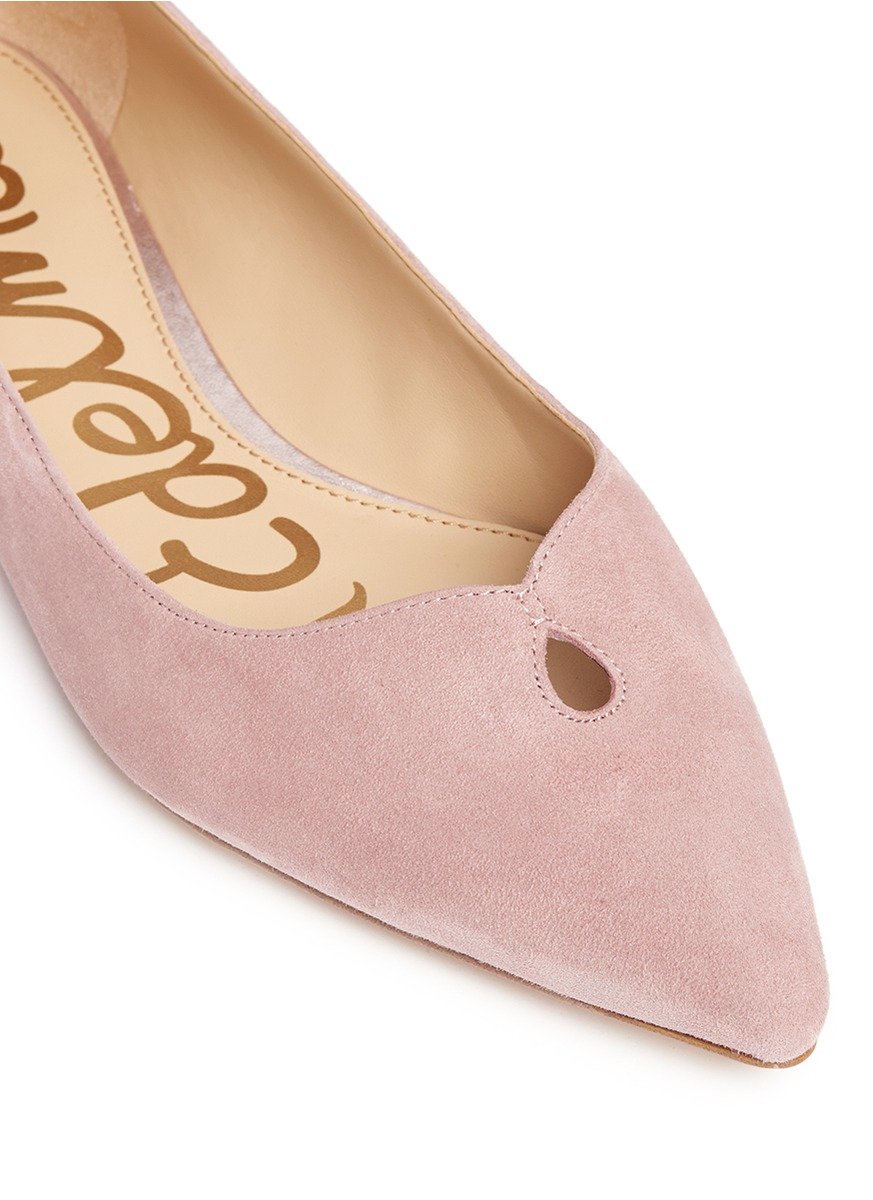 3a8bf2546 Lyst - Sam Edelman  ruby  Keyhole Vamp Suede Skimmer Flats in Pink