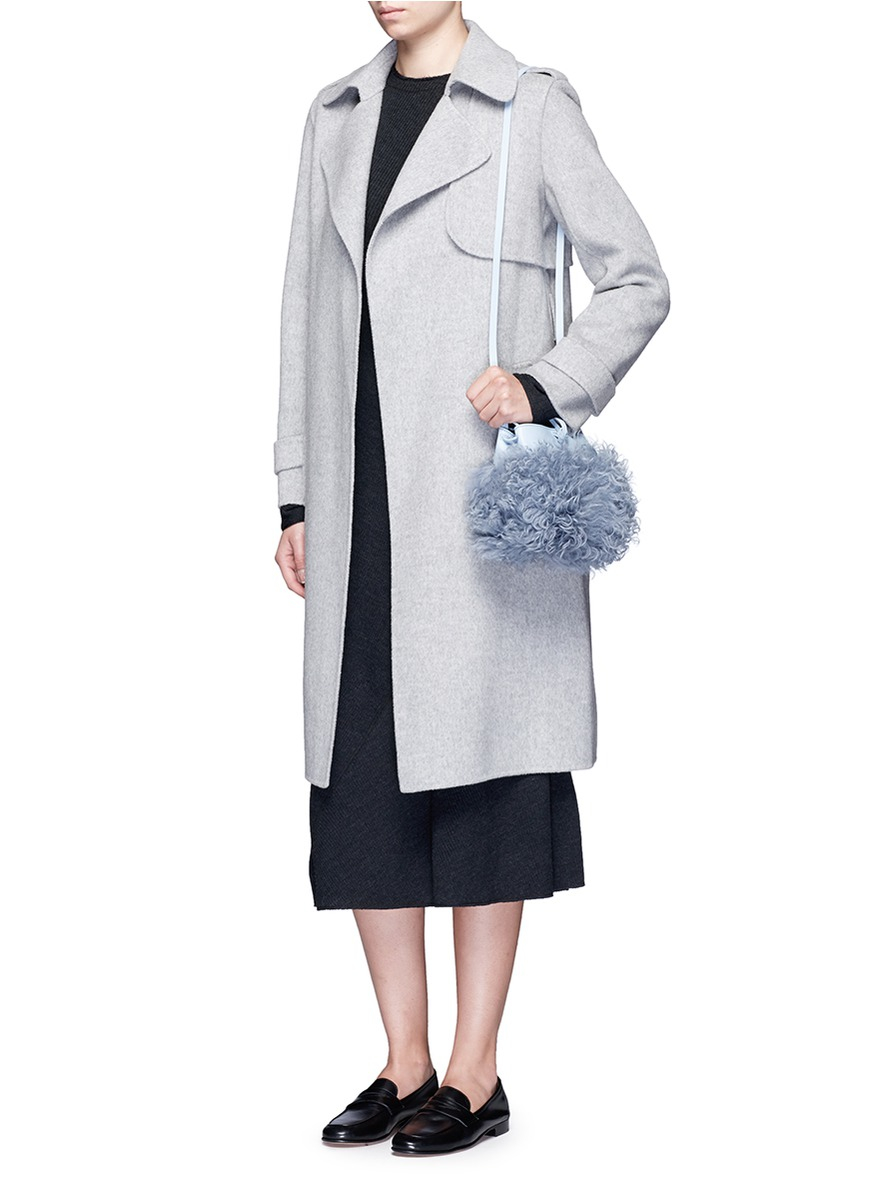 Kara Leather Shearling Nano Tie Cross Body Bag in Sky Blue (Blue)