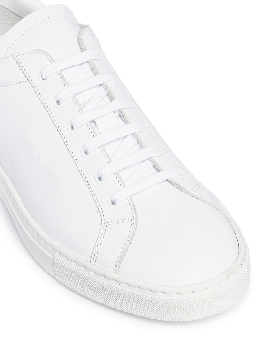 common projects 39 achilles retro 39 contrast heel leather sneakers in white lyst. Black Bedroom Furniture Sets. Home Design Ideas