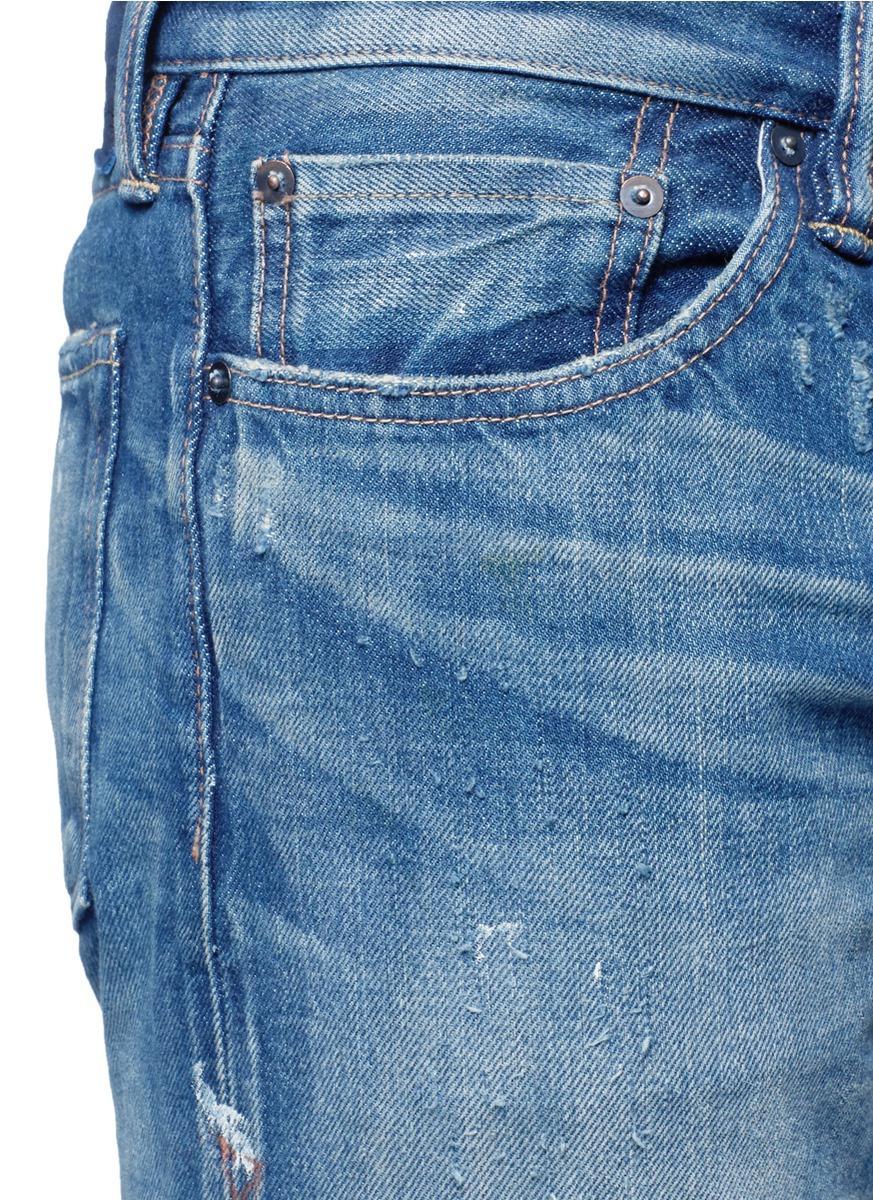 Simon Miller Denim 'mito' Paint Spot Distressed Jeans in Blue for Men