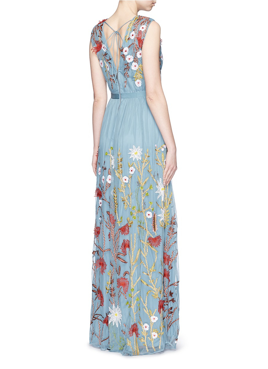 3fd0cafa4f933 Lyst - Alice + Olivia Merrill Embroidered Silk and Tulle Gown in Blue