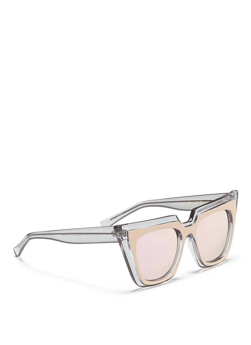 Self-Portrait X Le Specs 'edition One' Layered Acetate Cat Eye Mirror Sunglasses in Grey