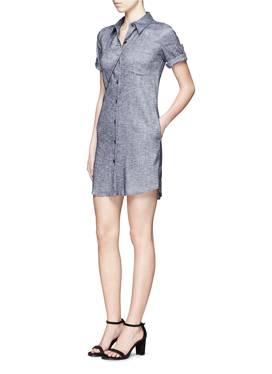 Lyst theory 39 mayvine 39 linen chambray shirt dress in blue for Chambray 7 s