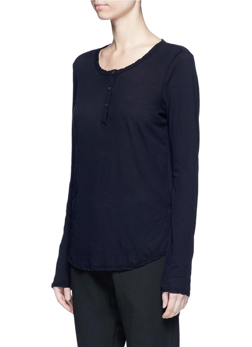 James perse cotton jersey henley shirt in black lyst for James perse henley shirt