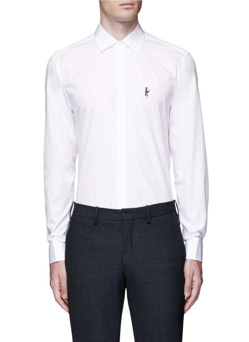 Neil barrett thunderbolt cufflink tuxedo shirt in white for Neil barrett tuxedo shirt