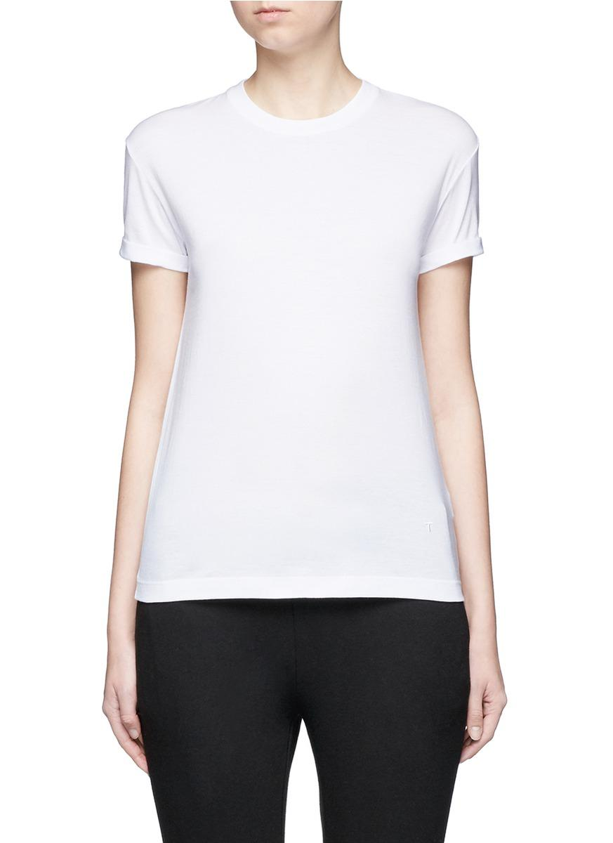 T By Alexander Wang Logo Embroidered Cotton T Shirt In