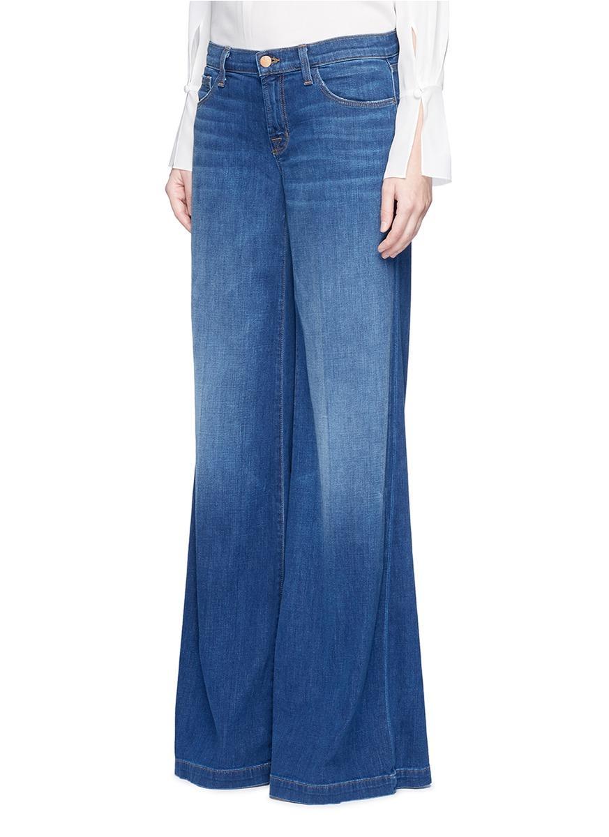 J Brand Denim 'lynette' Low Rise Wide Leg Jeans in Blue