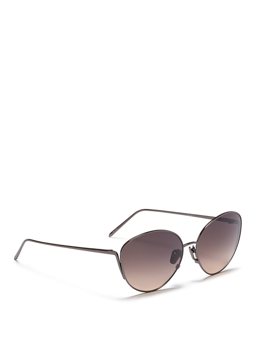 Linda Farrow Titanium Cat Eye Sunglasses in Metallic