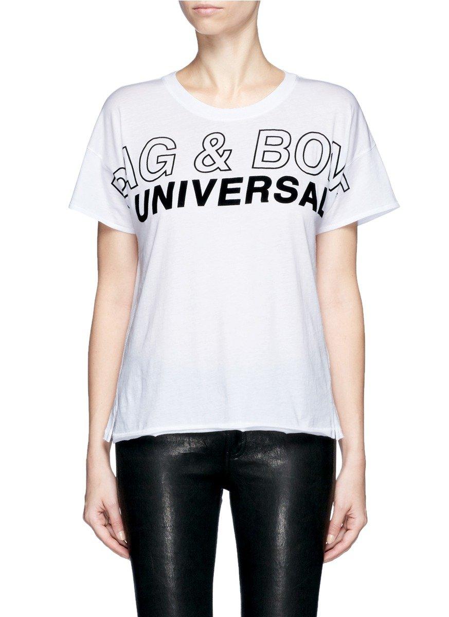 Lyst rag bone logo graphic print t shirt in white for Rag bone shirt
