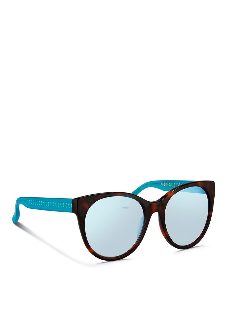 Matthew Williamson Contrast Temple Tortoiseshell Acetate Cat Eye Mirror Sunglasses in Black