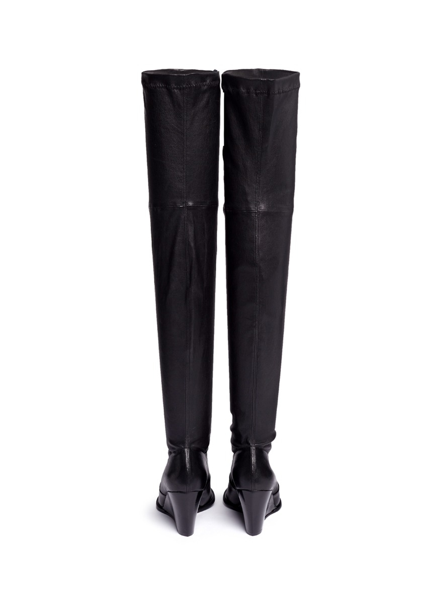 Robert Clergerie 'oman' Wedge Leather Thigh High Boots in Black