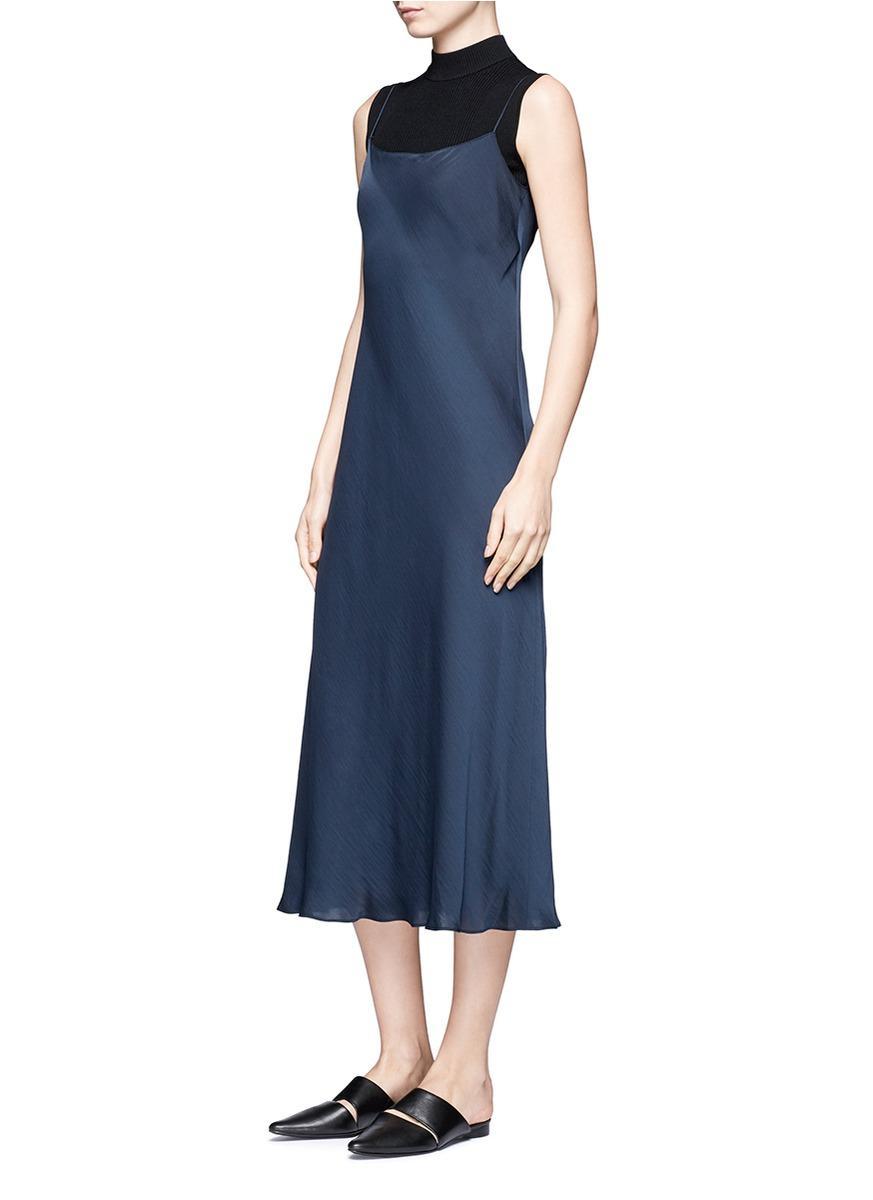 Vince Satin Slip Dress In Blue Lyst