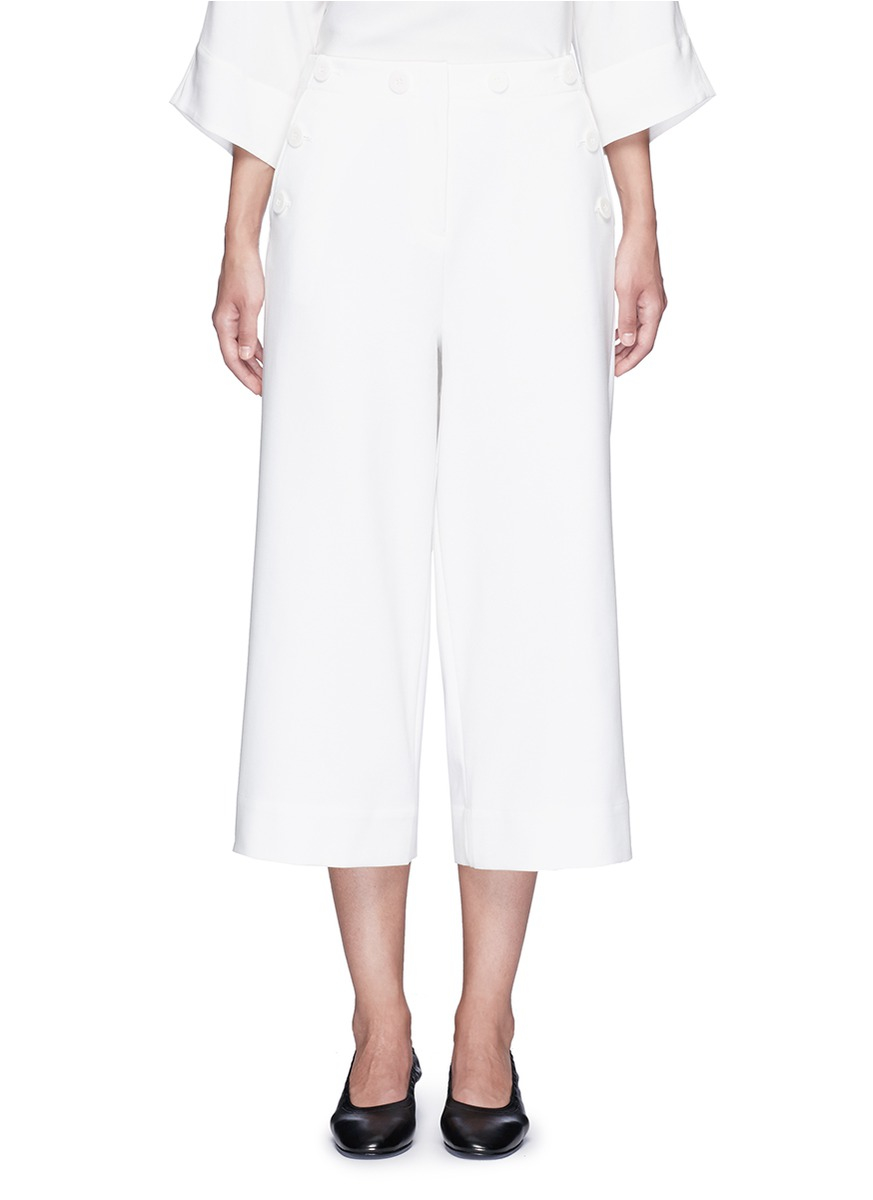 Tibi Synthetic Anson Cropped Wide Leg Sailor Pants In
