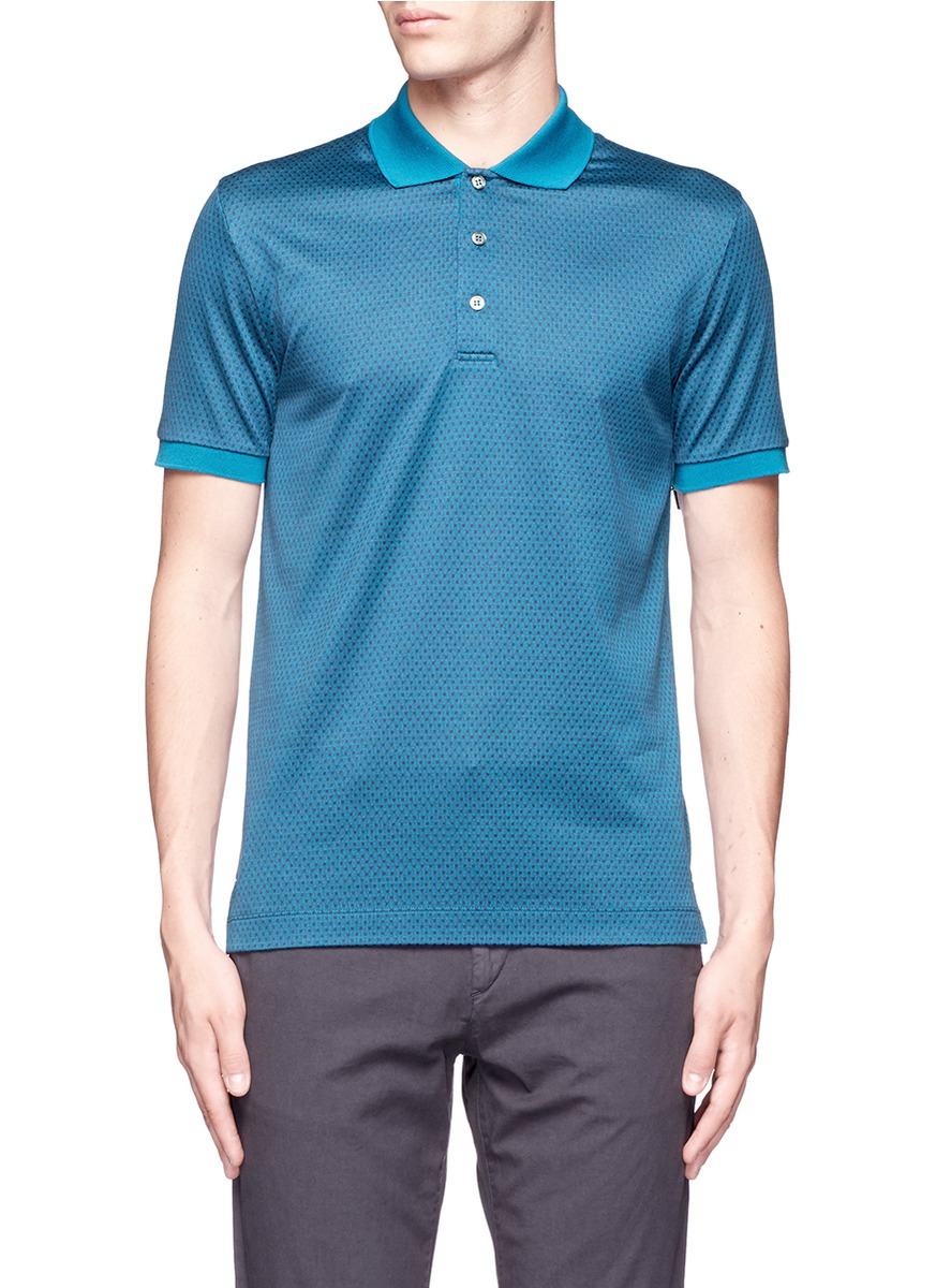 Lyst canali square motif silk cotton polo shirt in blue for Cotton polo shirts for men