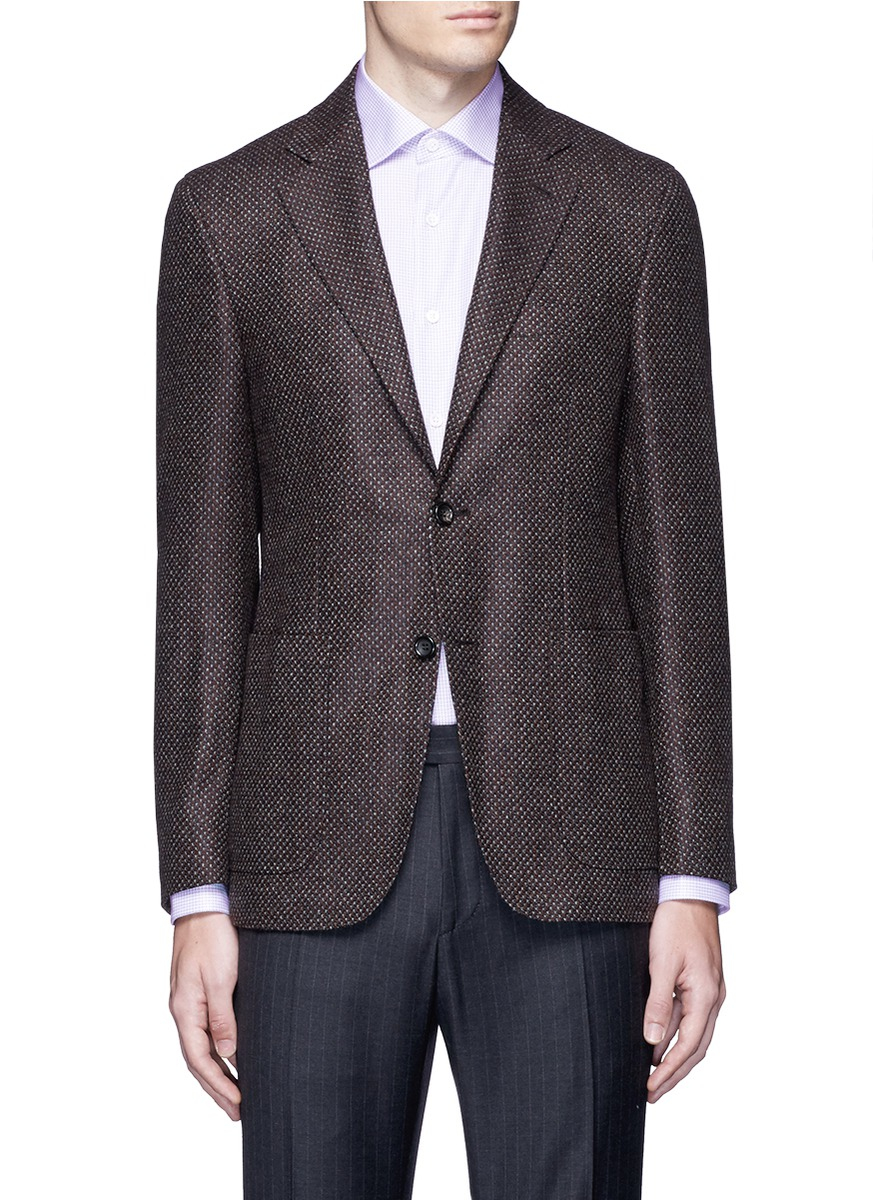 Canali Kei Wool Cashmere Tweed Soft Blazer In Brown For