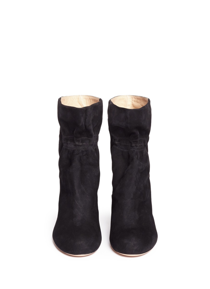 Chloé Kent Ruched Suede Ankle Boots in Black