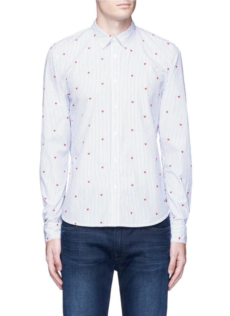 Scotch soda velvet flock heart stripe cotton shirt for for Red velvet button up shirt