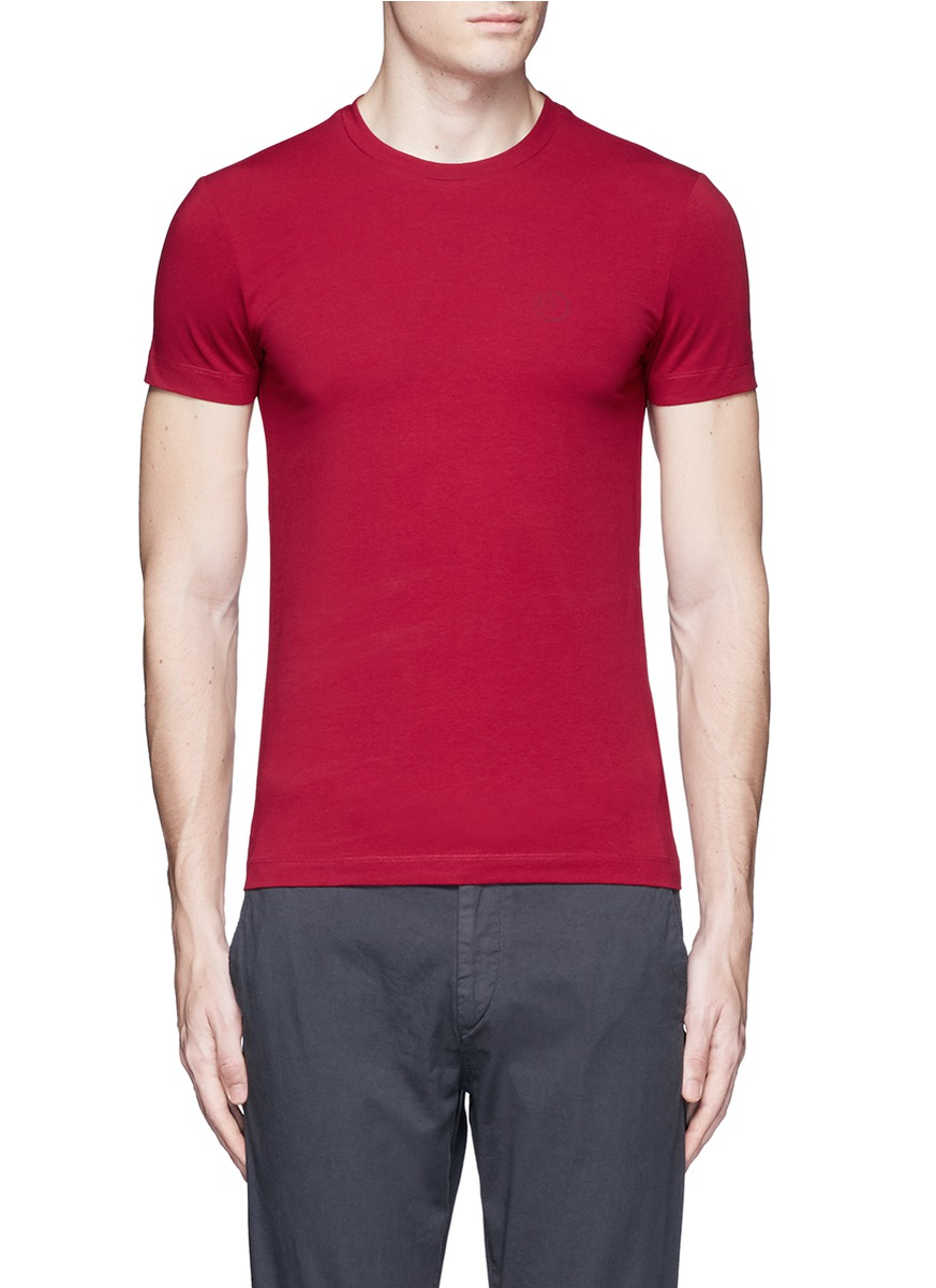 armani slim fit cotton t shirt in red for men lyst. Black Bedroom Furniture Sets. Home Design Ideas