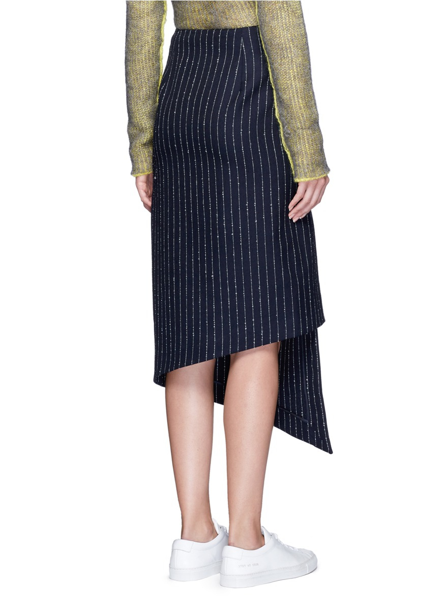 acne studios 39 pate 39 pinstripe pencil wrap skirt in blue lyst. Black Bedroom Furniture Sets. Home Design Ideas