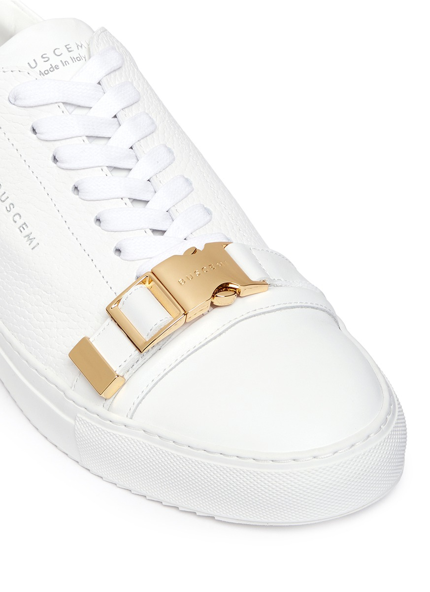 Buscemi '50mm' Buckle Strap Leather Sneakers in White