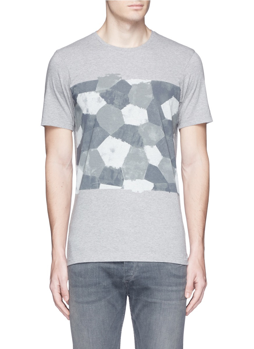 Denham 39 d vii camo 39 print cotton t shirt in gray for men for T shirt printing nyc same day