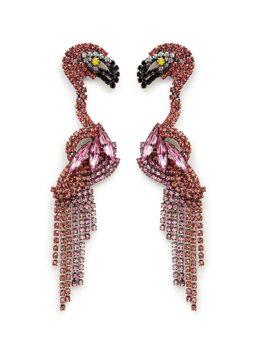 Elizabeth Cole Ge Swarovski Crystal Flamingo Drop Earrings