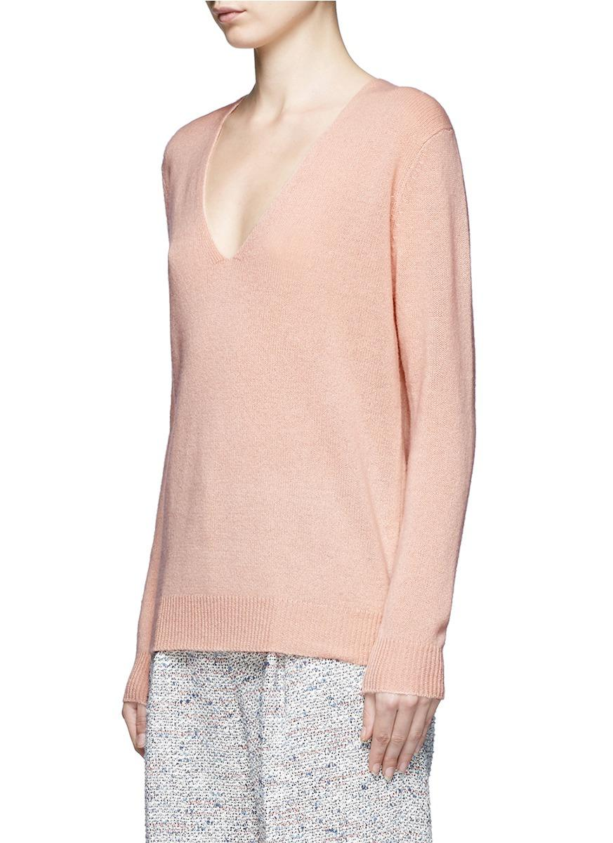 Theory 'adrianna Rl' V-neck Cashmere Sweater in Pink