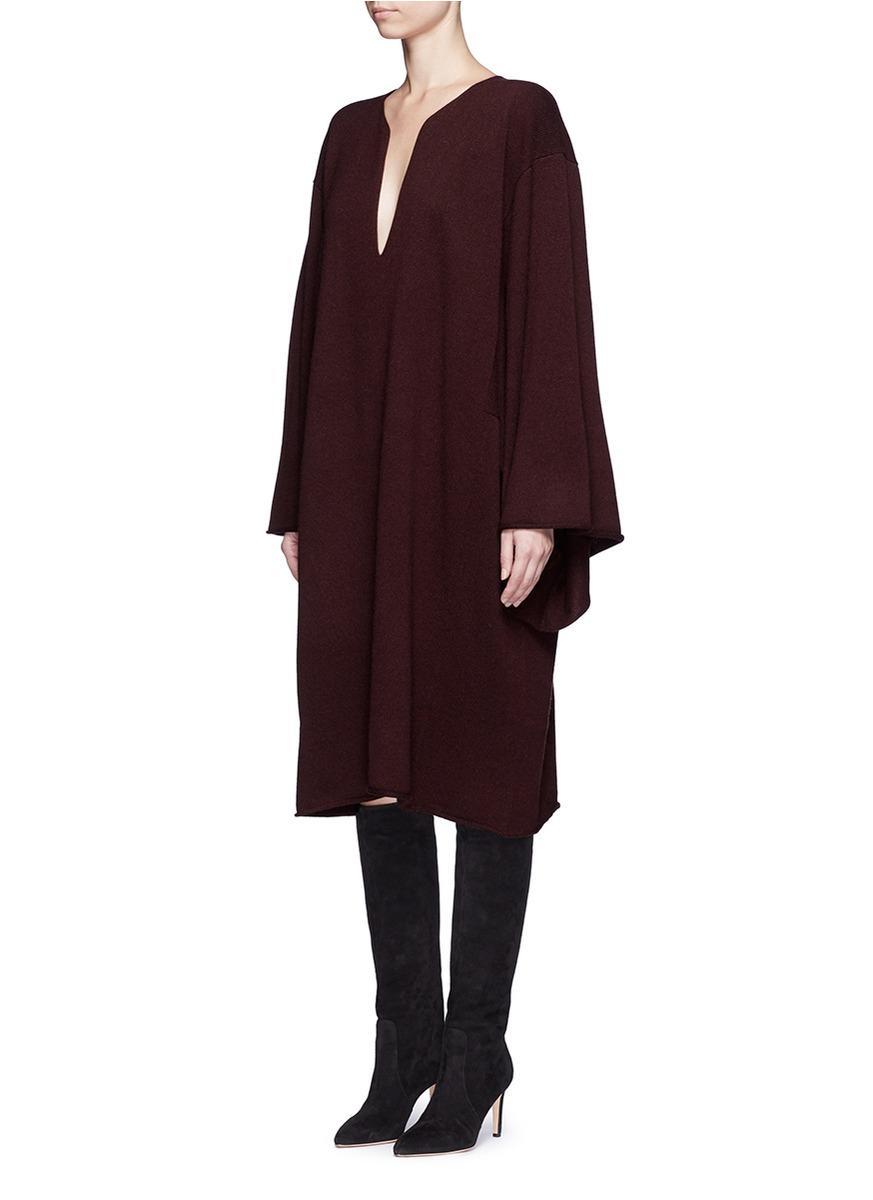 Chloé Cashmere Knit Kaftan Dress in Purple