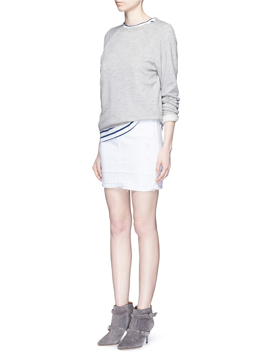j brand leila distressed denim pencil skirt in white lyst