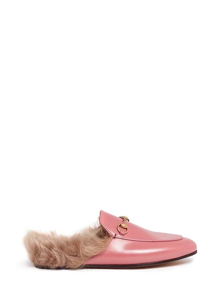 92fb9fa9f4f4d Lyst - Gucci   39 princetown  39  Lamb Fur Leather Slide Loafers