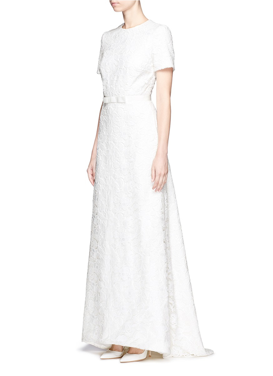 Self portrait rose lace open back bridal dress in white lyst for Self portrait wedding dress