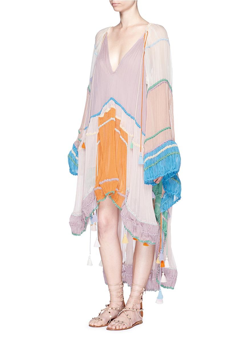 Chlo 233 Rainbow Silk Cr 233 Pon Tassel Drawstring Poncho Dress