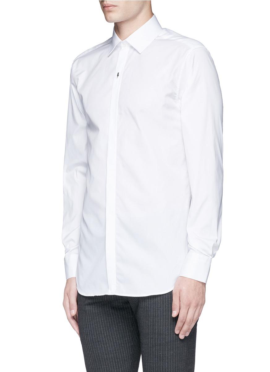 Neil barrett thunderbolt pin tuxedo shirt in white for men for Neil barrett tuxedo shirt