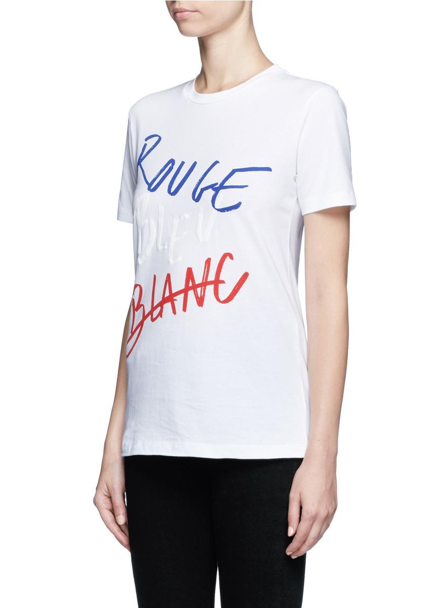 lyst tre c cile rouge bleu blanc t shirt in white. Black Bedroom Furniture Sets. Home Design Ideas