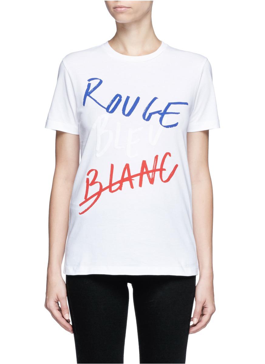 tre c cile 39 rouge bleu blanc 39 slogan print t shirt in black lyst. Black Bedroom Furniture Sets. Home Design Ideas
