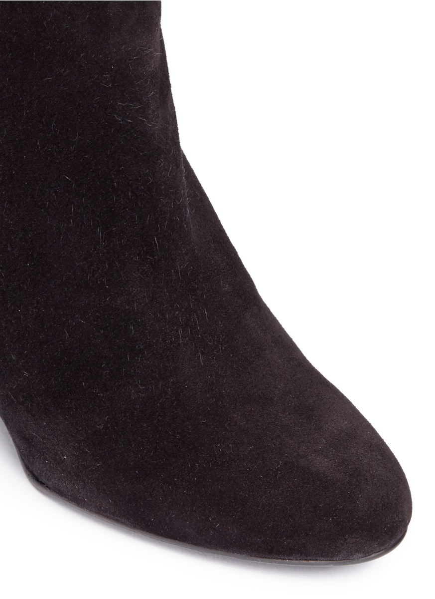 Lanvin Leather Suede Wedge Boots in Black