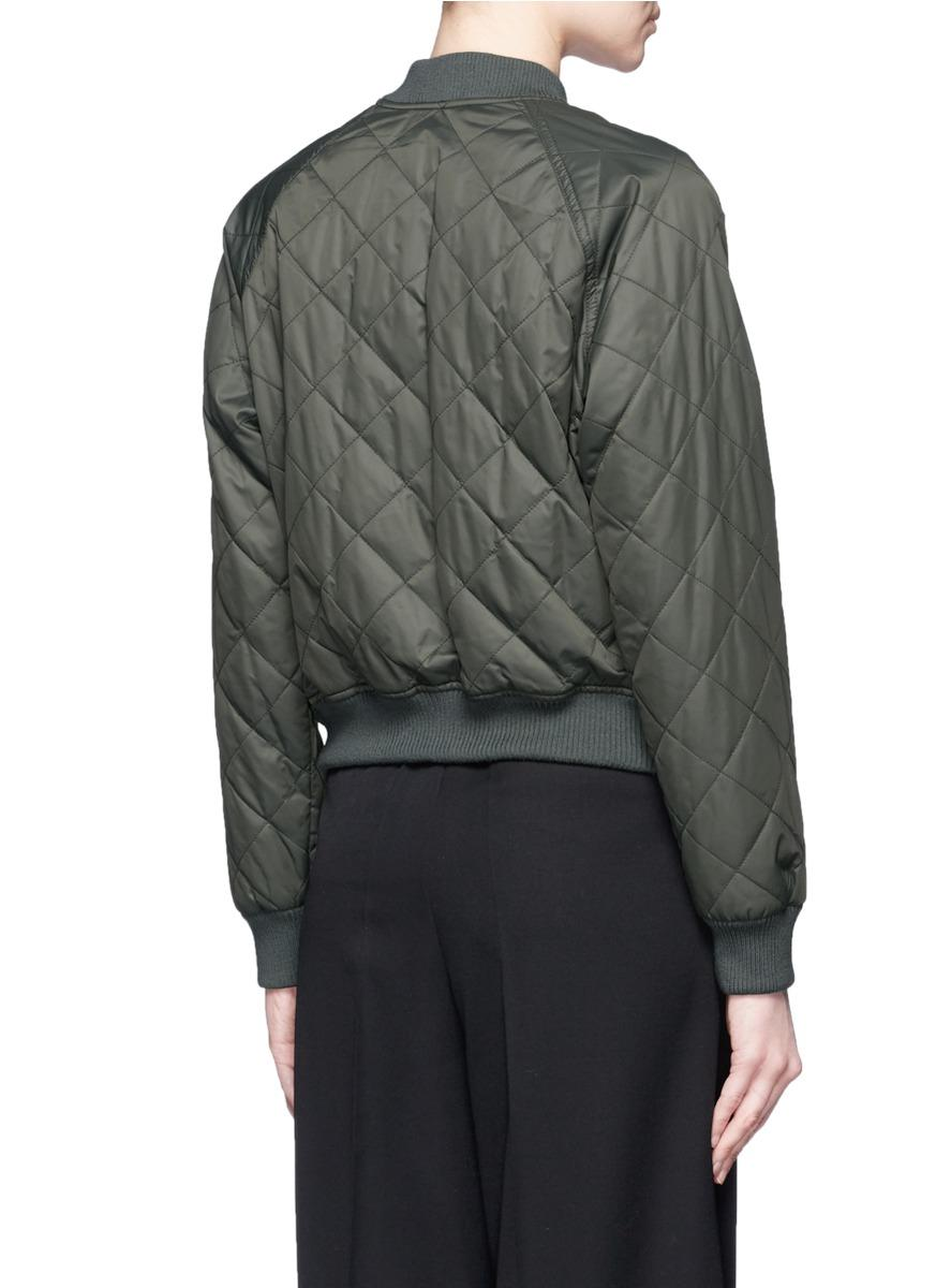 Lyst Vince Diamond Quilted Bomber Jacket In Green