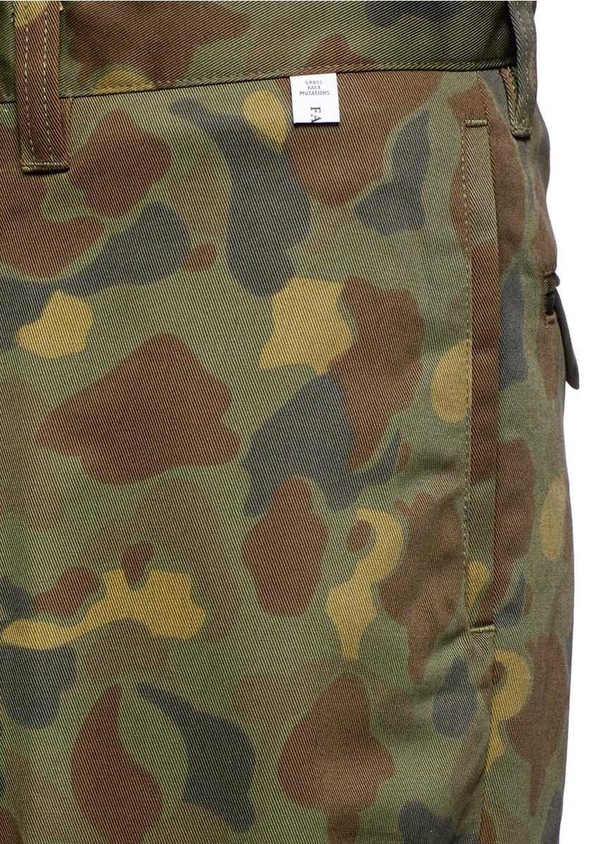 Facetasm Cotton 'big Heart Chino' Camouflage Print Wide Leg Pants for Men