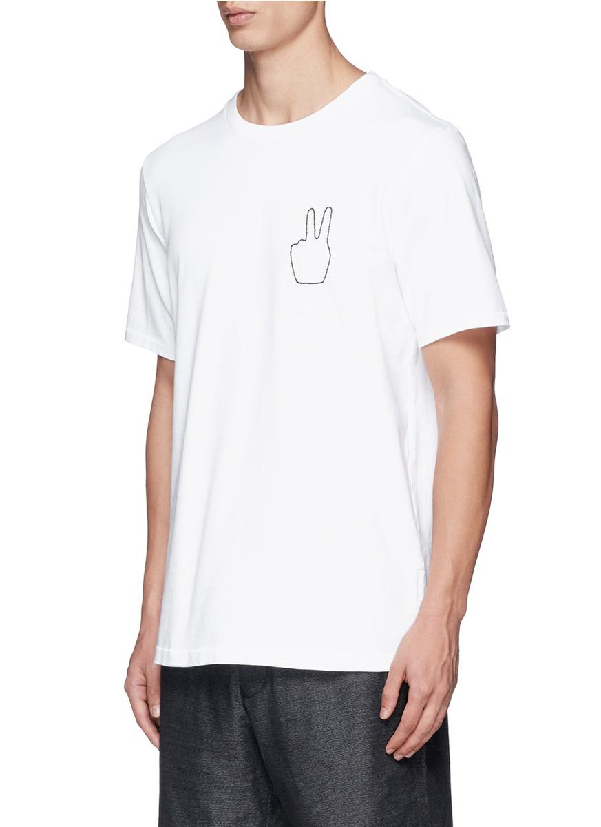 Lyst rag bone 39 peace 39 embroidery t shirt in white for men for Rag bone shirt