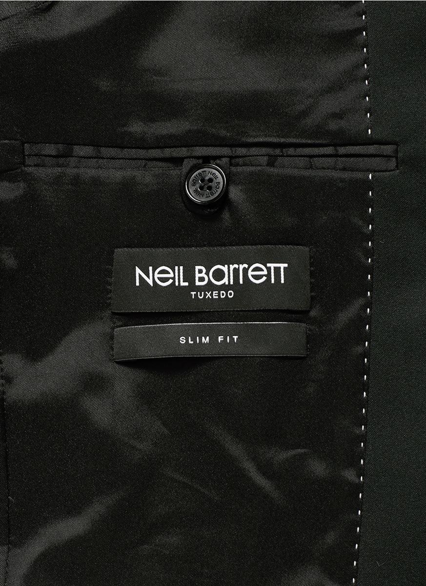 Neil barrett rubberised star print tuxedo blazer in black for Neil barrett tuxedo shirt