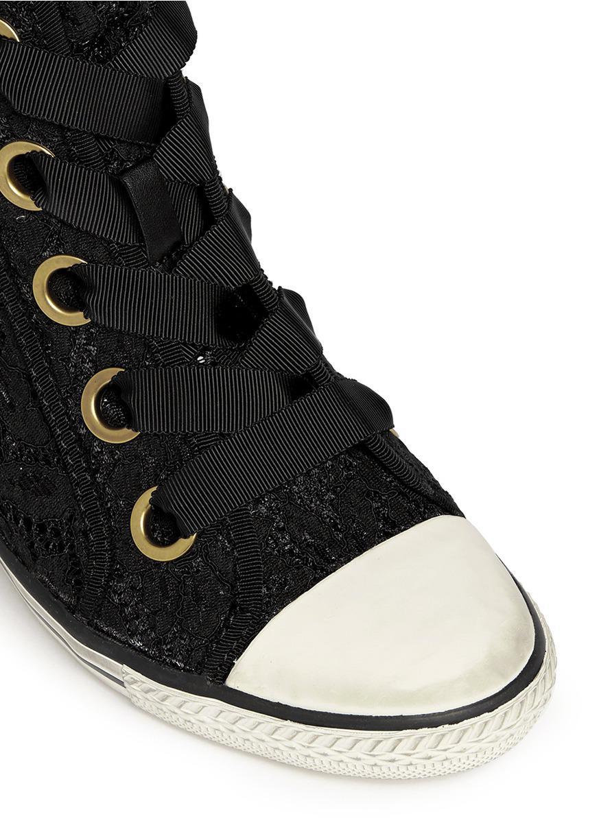 Ash 'Glen' Lace Wedge Sneakers in Black