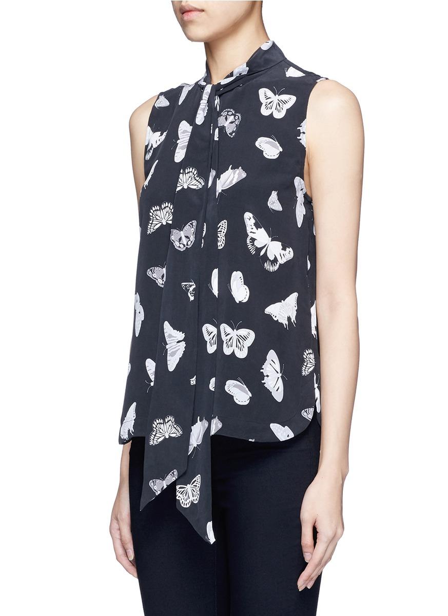 Equipment 39 poppy 39 butterfly print neck tie silk shirt in for Equipment black silk shirt