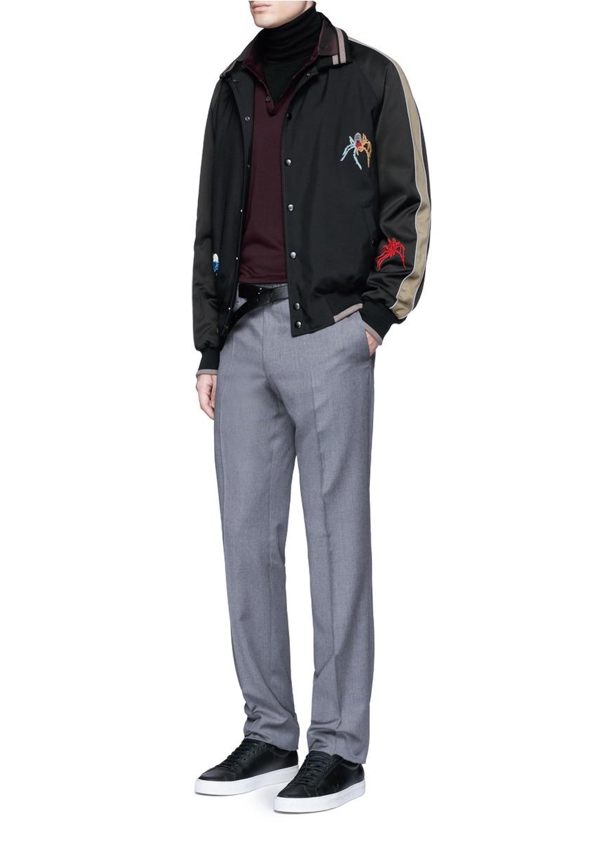 Lanvin Satin Spider Embroidery Baseball Jacket in Black for Men