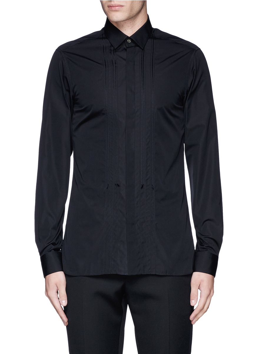 Lyst lanvin slim fit bib front tuxedo shirt in black for men for Trim fit tuxedo shirt