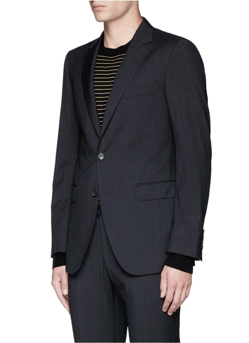 Lanvin 'attitude' Woven Stripe Wool Suit in Black (Blue) for Men