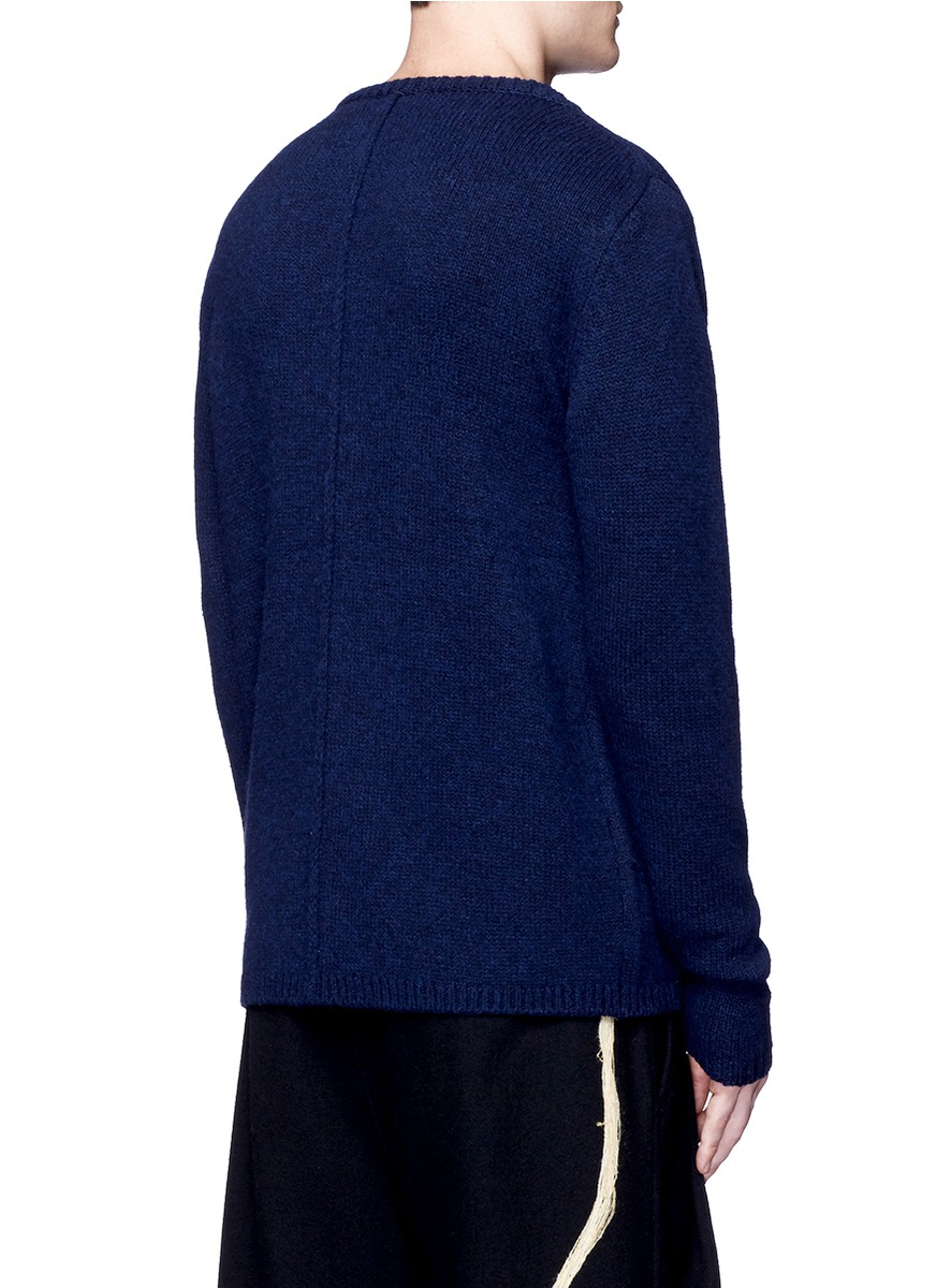 Song For The Mute Contrast Panel Lambswool-silk Sweater in Blue for Men