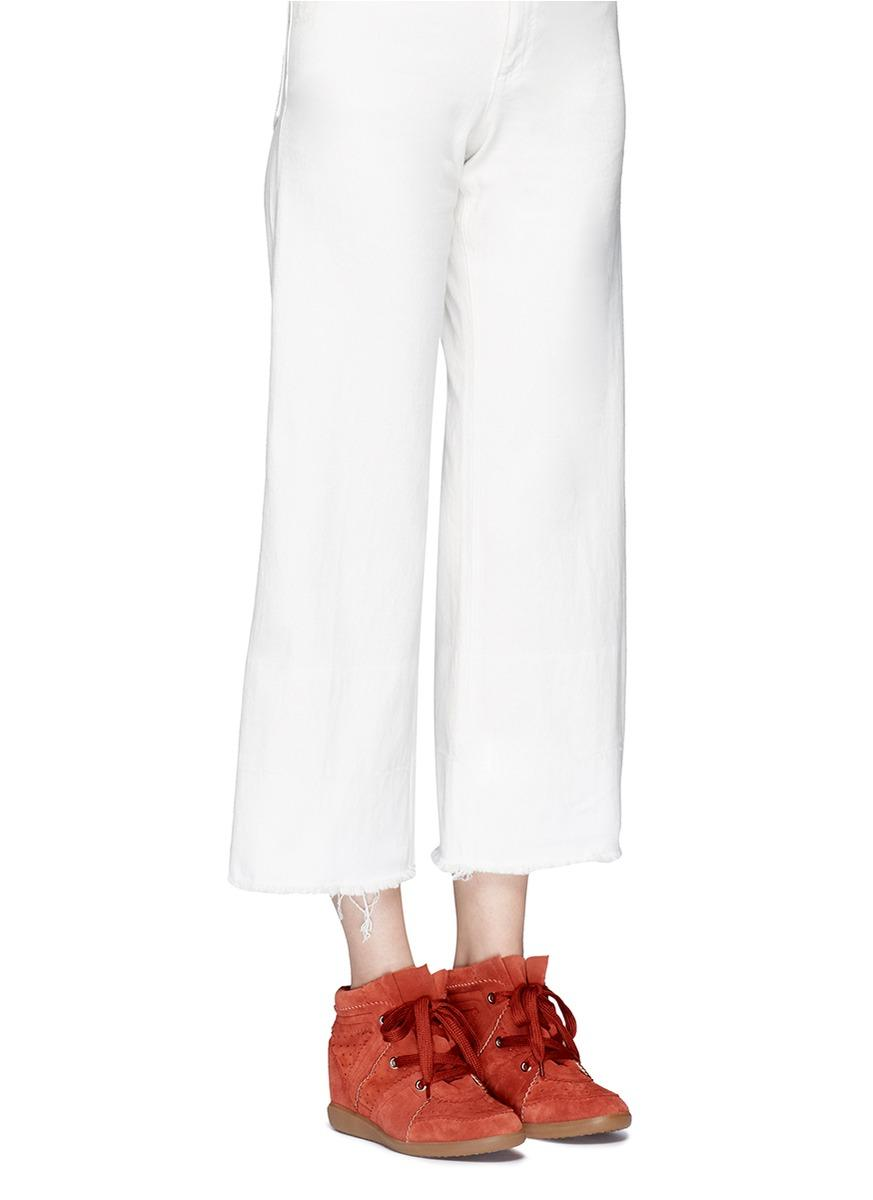Étoile Isabel Marant Suede Bobby Wedge Sneaker in Red